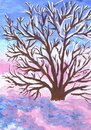 A Spreading Tree In The Morning Dawn. Winter Landscape. Children\'s Drawing