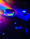 Spreading water drops on cd disk. Macro. Royalty Free Stock Photo