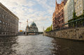Spree river view of the cathedral of berlin from the at sunset Stock Photography