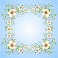 Sprig flowers frame background