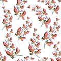 Sprigs of berries and leaves on a beige background. Delicate floral background. Seamless Floral Pattern.