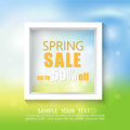Spring abstract background with white frame.Spring discounts and sales.