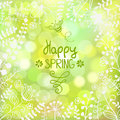 Spring background beautiful floral greeting card with cute bee Royalty Free Stock Image