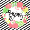 Spring background with beautiful flowers. Greeting card with hand drawn lettering. Vector illustration template, banners