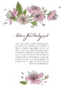 Spring background with blooming sakura flowers. Design template with place for text.