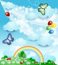 Spring background with butterflies Stock Image