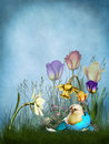 Spring background with a chick and flowers Royalty Free Stock Photography
