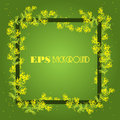 Spring background with frame from sprig of mimosa Royalty Free Stock Photo