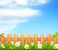 Spring background grass and wooden fence Stock Photography