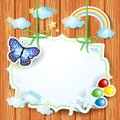 Spring background with label and butterfly illustration Royalty Free Stock Photos