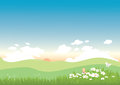 Spring background landscape illustration of a warm with flowers and butterflies Stock Photos