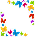 Spring background with painted butterflies border illustration Royalty Free Stock Photo