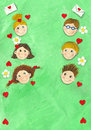 Spring background with six children Royalty Free Stock Images