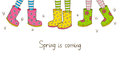 Spring banner with rubber boots