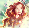 Spring beauty girl outdoors with long red blowing hair Stock Photography