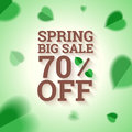 Spring big sale banner on green background vector illustration in eps Stock Photos