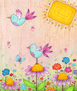 Spring birds colorful illustration of flowers and made with markers and colored pencils Royalty Free Stock Images