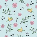 Spring, birds and music. Doodle and cartoon. Seamless pattern.