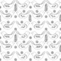 Spring birds seamless pattern, vector black and white drawing.