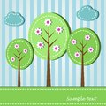 Spring blooming trees illustration of dashed style Royalty Free Stock Image