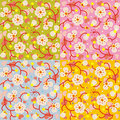 Spring blossom floral seamless repeat patterns Royalty Free Stock Image