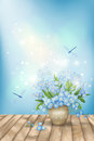 Spring blue flowers dragonflies on wood background romantic vector floral scene with forget me nots bouquet in vase shining lights Stock Photos