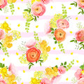 Spring bouquets of rose, ranunculus, narcissus striped seamless