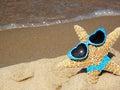 starfish on beach with sunglasses and bikini Royalty Free Stock Photo