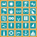 Spring break cute icon set the Royalty Free Stock Image