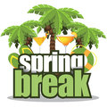 Spring break palm trees isolated eps vector stock illustration Royalty Free Stock Image
