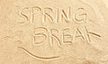 Spring Break and seagulls drawn in beach sand Royalty Free Stock Photo