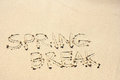 Spring Break Written in Sand on Beach Royalty Free Stock Image