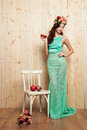 Spring bright bride in mint dress Royalty Free Stock Photo