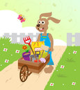Spring bunny cute with a wheelbarrow and decorative background eps Stock Photo