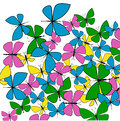 Spring butterflies colorful lively scattered pink green and yellow summer and freedom concept Royalty Free Stock Image