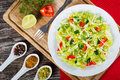 Spring cabbage salad with bell pepper, corn and dill, top view Royalty Free Stock Photo