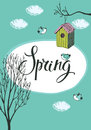 Spring card with birds and bird houses design blue background Stock Photos