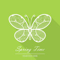 Spring card with butterfly on a green background beautiful for your design Stock Photo
