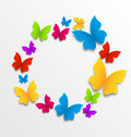 Spring card with colorful butterflies illustration circle composition Royalty Free Stock Photos