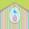 Spring card with easter egg and bird Royalty Free Stock Photo