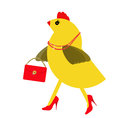 Spring chicken character with bling handbag fun hen young at heart old bird still on the lookout for oldies humour Stock Images