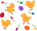 Spring Chicks Pattern Stock Images