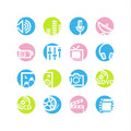 Spring circle media icons Stock Images