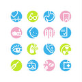 Spring circle medicine icons Royalty Free Stock Photography