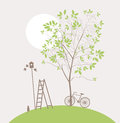 Spring clean landscape with green tree and bike Stock Image