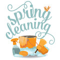 Spring cleaning cheerful flat design eps vector royalty free stock illustration for greeting card ad promotion poster flier blog Royalty Free Stock Photography