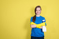 Spring cleaning. Cleaning woman with cleaning spray bottle happy Royalty Free Stock Photo