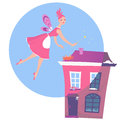 Spring cleaning cute fairy hovering over a house magically it and transforming from winter to Stock Images