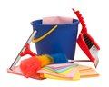 Spring cleaning equipment with squeegee, bucket, brush and shovel Royalty Free Stock Photo