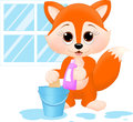 Spring cleaning an illustration featuring a fox with products for Royalty Free Stock Images